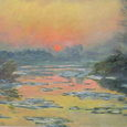 モネ/セーヌ河の日没、冬