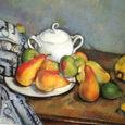 セザンヌ/砂糖壺、梨とテーブルクロス